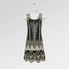 New gatsby 20's vintage flapper charleston black sequin party dress UK 10/12
