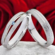 Eheringe Verlobungsringe 925 Silber Ringe mit echten Topas Ring Gravur  SPT112