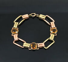 1950's Retro 9.5ct Citrine & 14K Yellow & Rose Gold Bracelet