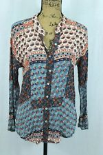 Free People Patchwork Floral Blouse Size XS Flat Collar Blue / Coral Batik Print
