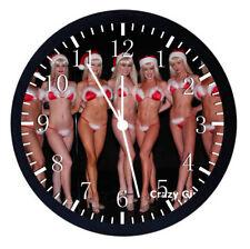 Sexy Santa Girls Black Frame Wall Clock W67