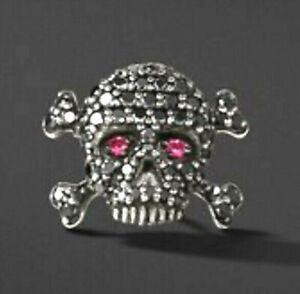 David Yurman Skull Stud Earrings with Pave Black Diamonds Ruby Eyes Pair 2 For 1