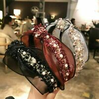 Fashion Women's Tie Lace Hairband Headband Pearl Knot Fabric Hair Hoop Band Hot