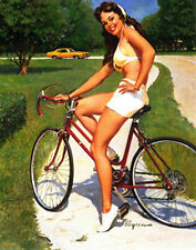 "RETRO PINUP GIRL CANVAS PRINT 24X16"" Poster Gil Elvgren Cycling"