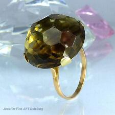 Ring in 585/- Gelbgold mit 1 Rauchquarz glänzend