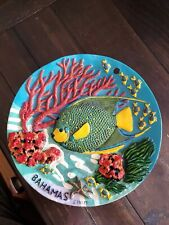 8'' Handmade and painted Bahamas colorful souviner plate