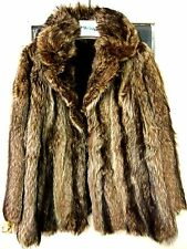 RACCOON FUR SHORT STYLE COAT WITH BROWN LEATHER SIDES WOMEN'S MEDIUM BLACK LINED