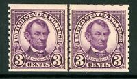 USA 1924 Lincoln 3¢ Coil Vert Perf 11 Line Pair Scott 600 Mint Non Hinged L535