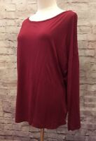OLD NAVY Women's Maroon Burgundy Casual Rayon Jersey Knit Top 3/4 Sleeve Medium