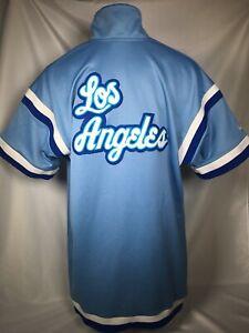 RETRO Los Angeles Lakers Hardwood Classics Blue Warm Up Jersey Shirt Mens LARGE