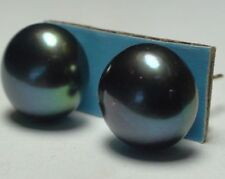 GENUINE TAHITIAN FRESHWATER BLACK PEACOK PEARL  925 S.SILVER EARRINGS 16.25 ct