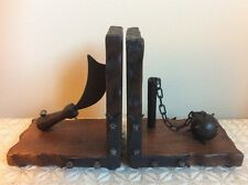 Vintage MEDIEVAL Wood BOOKENDS / Morning Star & Blade Weapons. Made In Spain G32