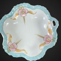 """Vintage Candy Bowl Japan Hand Painted Baby Blue Pink Flowerf Ruffled 7.5""""D 1.25"""""""