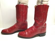 VTG WOMENS JUSTIN WESTERN ROPER RED BOOTS SIZE 6 B