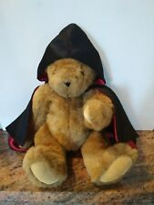 Vermont Teddy Bear Co. Plush Jointed Brown Bear with Hooded Satin Cape