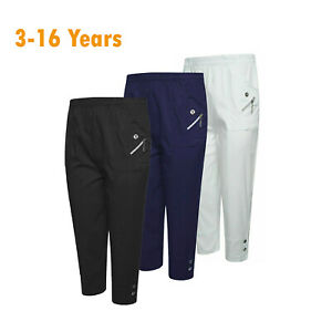 Kids Golf Trousers Outdoor Sports Girls Fashion Zip Button Full Pants Age 3-16