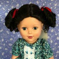 Global Sonja Dark Brown Full Cap Doll Wig Size 13-14 - Curly ponytails!