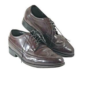 Florsheim Imperial Mens Size 9.5 3E Dress Shoes Burgundy Wingtip 75980 Lace Up