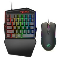 Mini One-Handed Gaming Keyboard RGB Backlit LED USB Wired Game 35 Keys Keypad QH