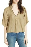 Free People Womens Get Over It  Top Relaxed Khaki Brown Size XS