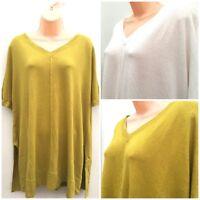Ladies Ex M&S Linen Mix Loose Fit Short Sleeve V Neck Jumper PLUS SIZE 20-30