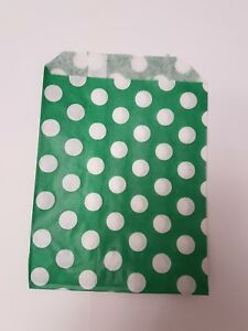 100 paper Green and white polka dot sweet bags, Sweet Buffet Wedding, Party