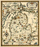 Map of the Commonwealth of Michigan Wall Art Poster Print Decor History Vintage