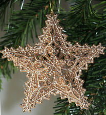 Set Of 6 Glitter Filigree Star Christmas Tree Baubles Decorations - Gold