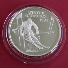 NEW ZEALAND 1994 WINTER OLYMPICS DOWNHILL SKIER SILVER PROOF FIVE DOLLAR