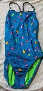 Womens Dolfin Uglies Blue Jellybean Colorful Swimsuit Swim Practice 1pc 30 32 4