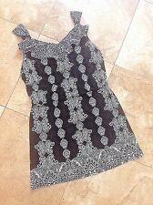 NWOT XL DRESS WHITE HOUSE BLACK MARKET BLK/WHT PRINT BLOUSSON RUFFLE NECK  DRESS