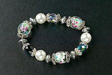 Stretch Bracelet Silver Plated Pearl Glass Bead Christmas Gifts Free Shipping