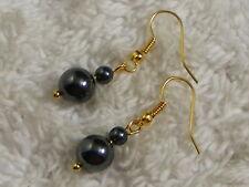 Hemetite Stone Bead Goldtone Pierced Earrings (A50)