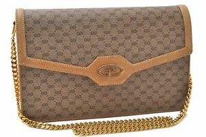 Authentic GUCCI Micro GG PVC Leather Chain Shoulder Bag Brown C3115