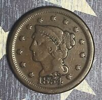 1854 Braided Hair Large Cent Collector Coin for your Collection or Set.