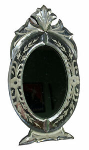 """10"""" X 5-1/2"""" ETCHED OVAL FRAME MIRROR W/BEVELED EDGES, FOR TABLETOP"""