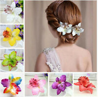 Women Girl Colorful Orchid Flower Hair Clip Hairpin Barrette Wedding Hair Access