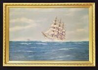 Antique Ship Painting Original Oil Painting Seascape Maritime Sailboat Painting