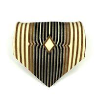 VIA Tie Men's 100% Silk Handmade Italy Striped Gold Brown Black Men's Necktie