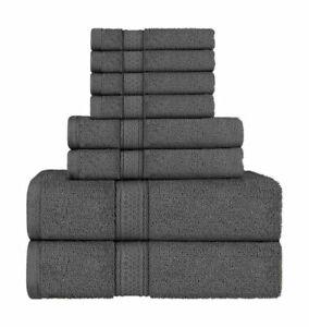 Utopia Towels 8 Piece Towel Set - Dark Grey