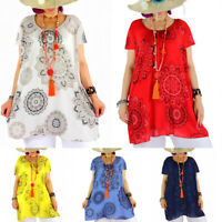 Plus Size Womens Floral Boho Casual T-shirt Summer Baggy Loose Blouse Tunic Tops