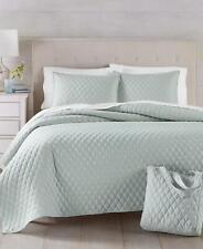 Martha Stewart Essentials Solid 3 Piece Full / Queen Quilt Set Grey $100