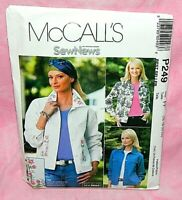 Uncut McCalls Misses Sz 16-22 Front Button Collared Jean Jackets Pattern P249