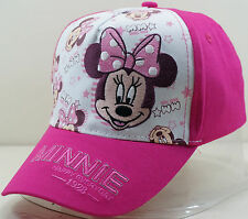 Pink Embroidered Minnie Mouse Kids Girls Adjustable Baseball Hat Ball Cap
