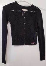 Womens Hollister Dark Blue Button Front Cardigan Long Sleeve Lace Front XS