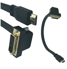 0.3m Flat Slim DVI 24+1 Male 90 degree angle to HDMI male Cable