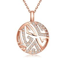 18k 18CT Rose Gold Filled GF Filigree Round Crystals Pendant Necklace N702