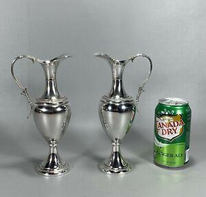 Pair Matching Ornate Empire Style Italian 800 Silver Jug Pitchers No Monograms
