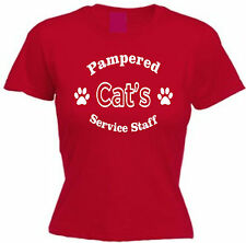 PAMPERED CAT'S SERVICE STAFF T-SHIRT Pet Lover Gift Christmas Cotton Present