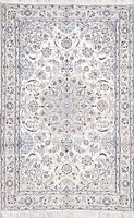 NEW Nain Naeen Wool Hand-Knotted Floral Oriental Area Rug 4x7 IVORY
